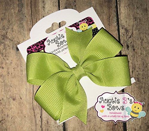 Solid Pistachio Green Pinwheel Hair Bow 3