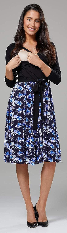Ausschnitt 551p Happy Mama Damen Mutterschaft Muster Skater Band Taille Kleid V