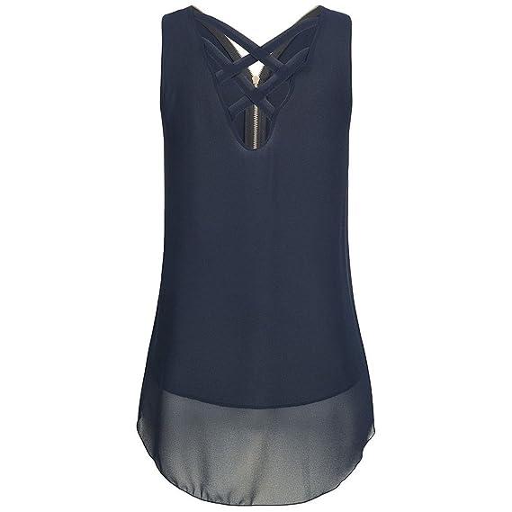 Ropa Mujer ❤️️Lonshell Camisetas Sin Manga Camisa Blusa para Mujer Camisolas de Gasa de Cremallera