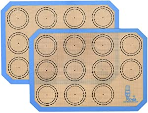 "Non Stick Silicone Baking Mats Set Quarter Sheet Macaron - 2 Small Toaster Oven Silicon Baking Liners For Cookies and Bread Making,8.2""x11.6"",By Folksy Super Kitchen (Blue)"