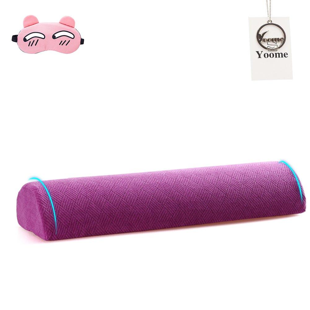 Yoome Demi Lune en mousse à mémoire Oreiller multifonctionnel jambe Taie d'oreiller Taille Cushion- Extra Ferme support cervical Traversin Rouleau pour le cou et les douleurs de dos YooJYZ0018-Purple