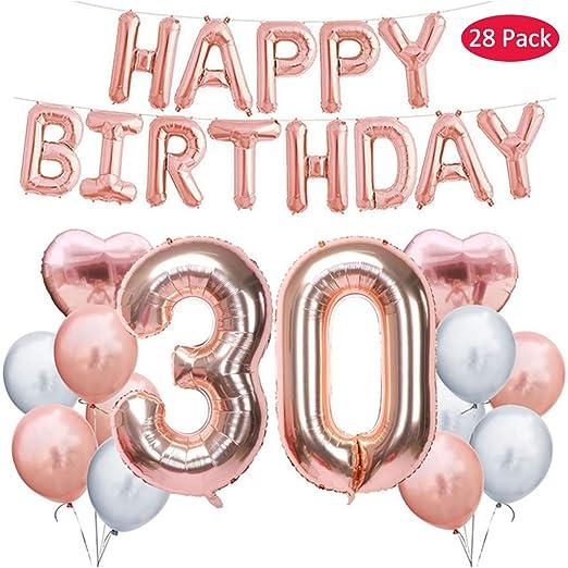 Amycute - Juego de globos de látex para 30 cumpleaños ...