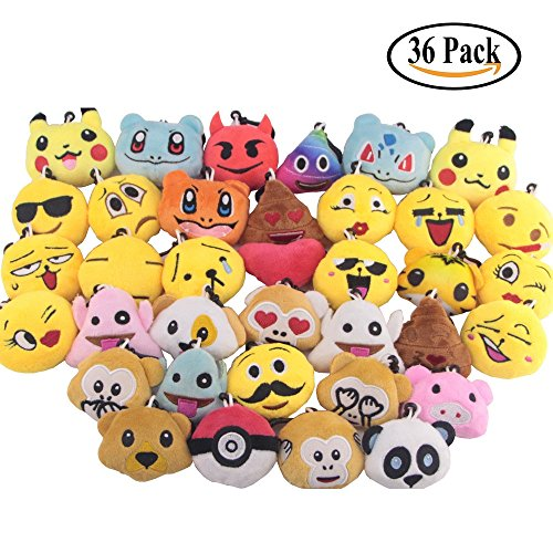 Swity Home 36 Pack Mini Emoji Plush Pillows, Mini Keychain Decorations, For Party Decoration, Party Supplies Favors, Set of 36