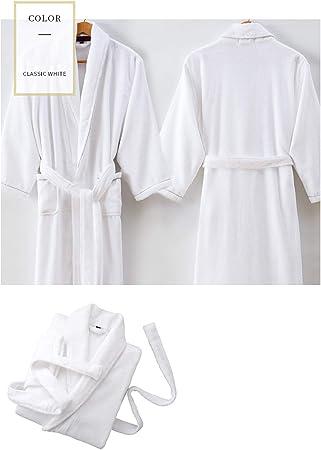 XUMING para Hombre de Las señoras de Albornoz Bata Bata de baño de Rizo Vestidos 100% de algodón con Capucha Batas de Toalla Mujer de los Hombres,Blanco,M: Amazon.es: Hogar