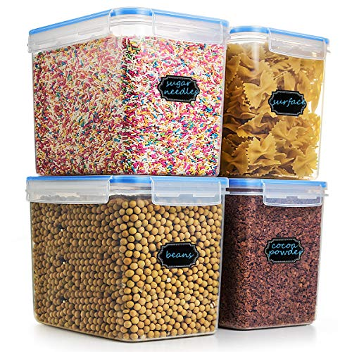 Large Cereal & Dry Food Storage Containers, Estmoon Plastic Storage Containers, Airtight, Leakproof With Locking Lids - Suitable For Cereal, Flour, Sugar, Rice, Snacks - Set of 4 (122.99 oz / 3.6L) by Estmoon
