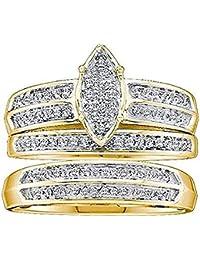 0.25 Carat (ctw) 10K Yellow Gold Round Diamond Men & Women's Engagement Trio Set 1/4 CT
