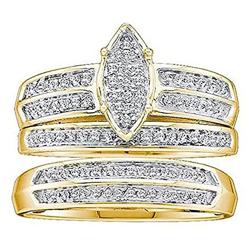 Dazzlingrock Collection 0.25 Carat (ctw) 10K Round Diamond Men & Women's Engagement Trio Set 1/4 CT, Yellow Gold ()