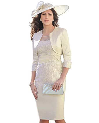 Kelaixiang Women S Lace Knee Length Sheath Dresses With Jacket For