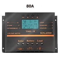 SolaMr 80A Controlador de Carga Solar 12V/24V Identificación Automática del Voltaje de Sistema Panel de Control de Carga Solar con Pantalla LCD y Puerto USB - 80A