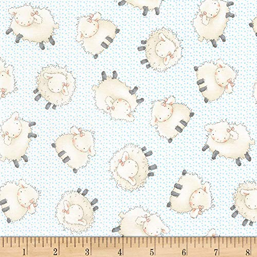 Timeless Treasures 0561321 Flannel Cotton Tale Farm Sheep Cloud Fabric by The Yard,