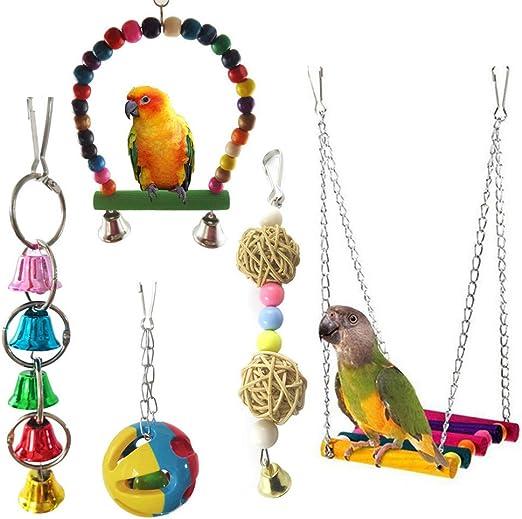 MoYag Juguete de Columpio para pájaros, Escalera, Hamaca de Madera, para cacatúas, periquitos, guacamayos, Loros, pájaros de Amor, alfileres (4 Unidades): Amazon.es: Productos para mascotas