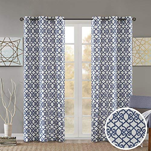 Comfort Spaces Printed Floral Lisbeth Window Curtain Energy Saving Black Out Drapes Grommet Top Darkening Panel Pair for Bedroom Living Room and Dormitory, 84 inch, Navy (Navy White And Curtains)