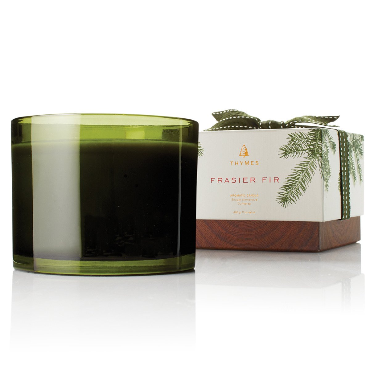 Thymes - Frasier Fir 3-Wick Seasonal Ceramic Wax Candle, 100-Hour Burn Time - 17 Ounces by Thymes