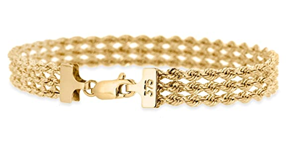 Carissima Gold 9ct Yellow Gold 3 Strand Rope Bracelet of 18cm/7 Gokec41Nwd
