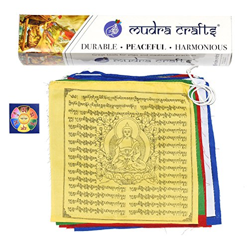 Cheap Mudra Crafts Tibetan Buddhist Indoor Outdoor Cotton Affirmation Windhorse Prayer Flags (10×10″ Medicine Buddha)