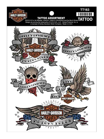 2a644624e Amazon.com: Harley-Davidson Temporary Tattoos, Classic Tattoo Assortment, 4  Colors TT163: Harley-Davidson: Clothing
