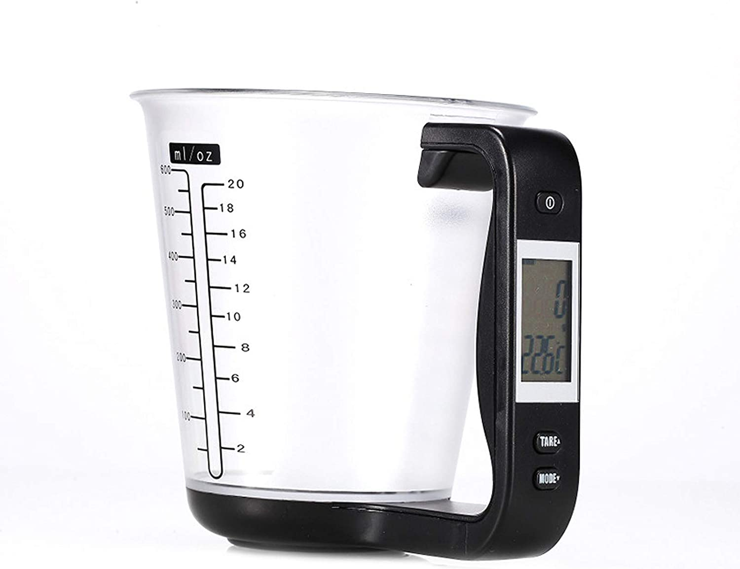 KT THERMO Digital Measuring Cup with Scales Grams and Ounces - Measurement cup scale perfect for baking kitchen food milk weighting (Black)