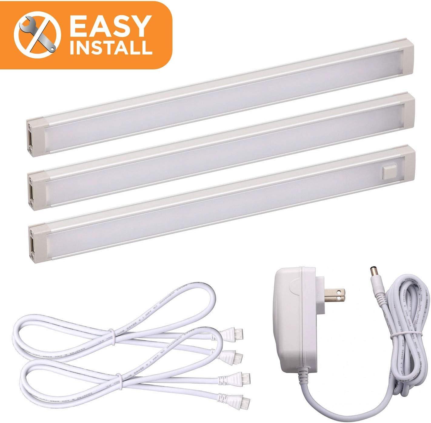 Black Decker LED Under Cabinet Lighting Kit, 3-Bars, 9 Inches Each, DIY Tool-Free Installation, Warm White, 2700K, 1080 Lumens, 15 Watts, Home Accent Lighting LEDUC9-3WK