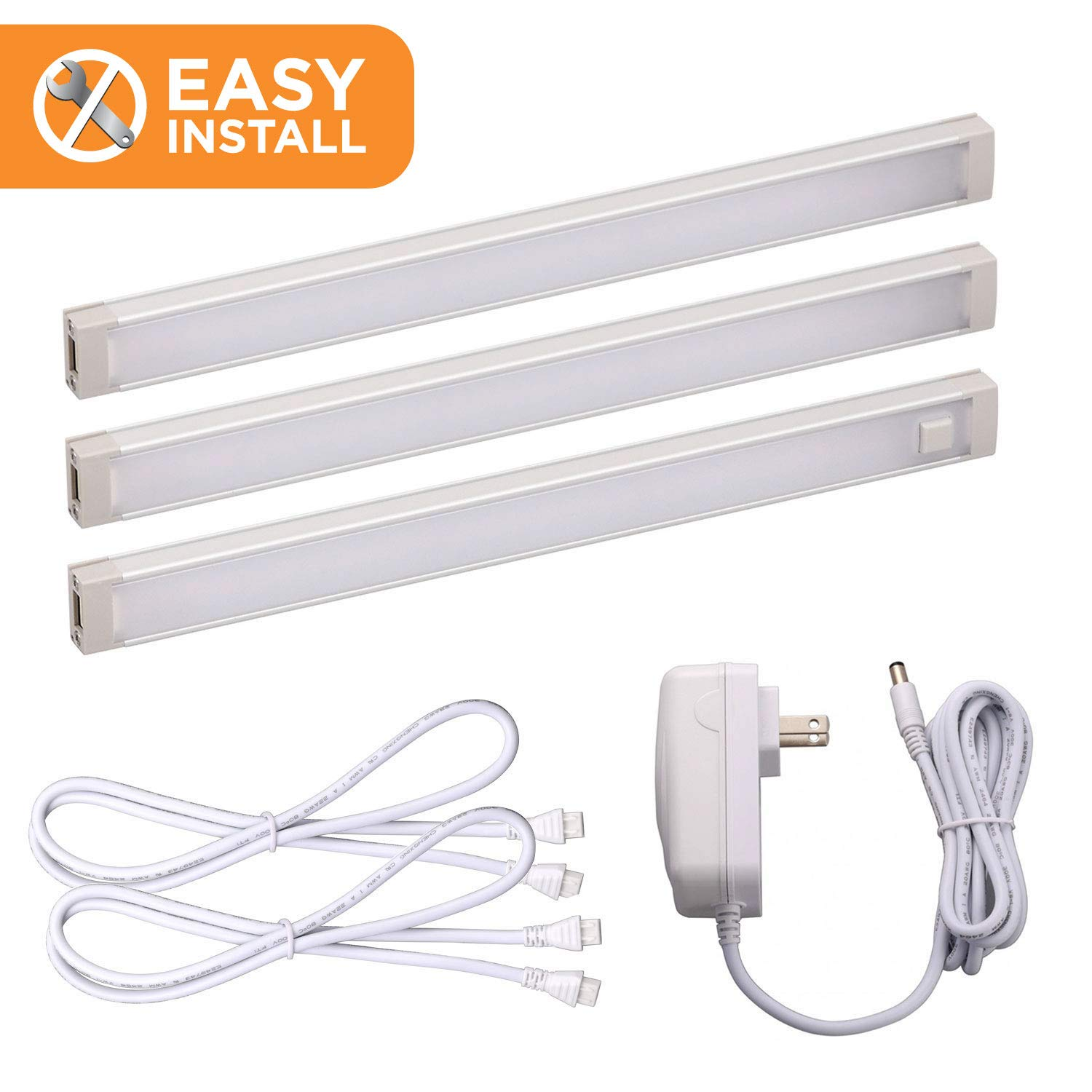 Black+Decker LED Under Cabinet Lighting Kit, 3-Bars, 9 Inches Each, DIY Tool-Free Installation, Warm White, 2700K, 1080 Lumens, 15 Watts, Home Accent Lighting (LEDUC9-3WK) by Black and Decker Office Products