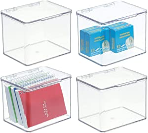 "mDesign Stackable Plastic Storage Bin Box with Hinged Lid - Organizer for Office Supplies, Paperclips, Highlighters, Dry Erase Markers, Sticky Notes, Memo Pads - 5"" High, 4 Pack - Clear"