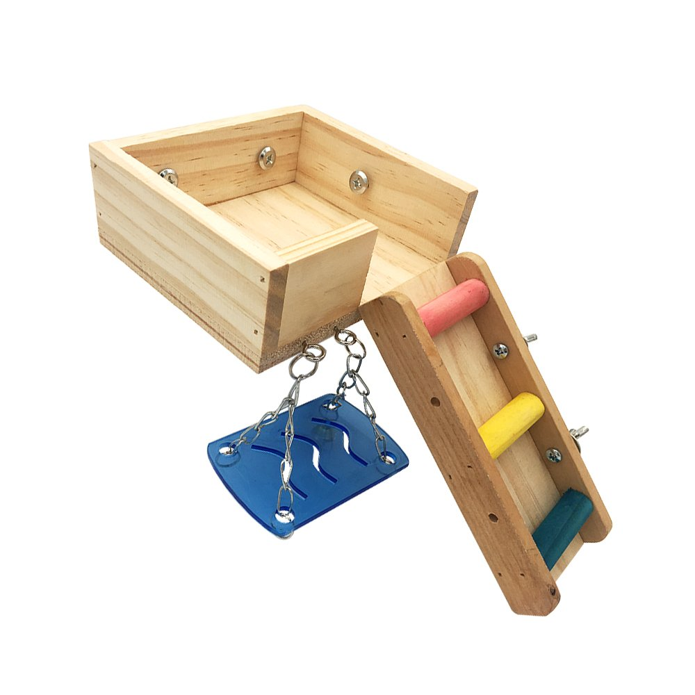 Borange Hamster Cage Wood Swing, Ladder and Resting Platform set for Hamster, Mouse Chinchilla, Rat, Gerbil and Dwarf Small Animal Wooden Platform Climbing Kits Cage Accessories