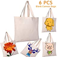 6 PCS Sublimation Tote Bags Blanks Sublimation Canvas Bags Reusable Grocery Shopping Bags for Crafting Decorating Heat Transferring