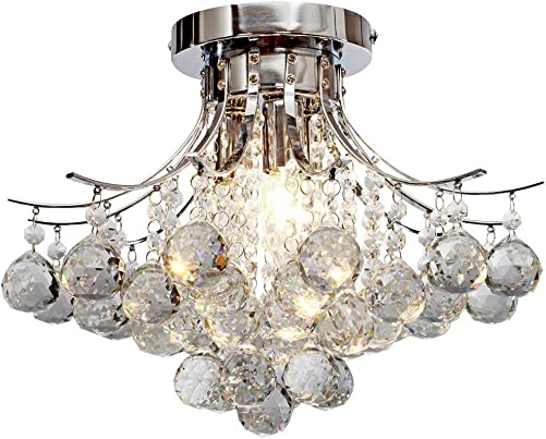 Chandelier Modern K9 Crystal Raindrop Chandelier Lighting Flush Mount LED Ceiling Light Fixture