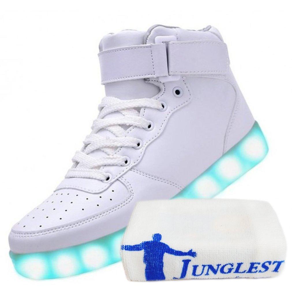 [Present:kleines Handtuch]Weiß EU 38, Sneakers High Leuchtende Schuhe Herren Top Sport Blinkende Freizeit JUNGLEST® Light