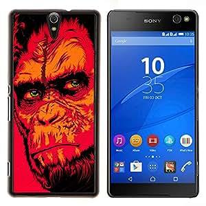 Qstar Arte & diseño plástico duro Fundas Cover Cubre Hard Case Cover para Sony Xperia C5 Ultra (Red Monkey Gorila)