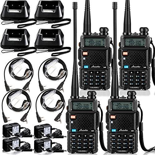 Ansoko Long Range Walkie Talkies for Adults Rechargeable Up to 6 Miles Range in Open Field 4 Pack Two-Way Radios with Acoustic Tube Earpiece VHF136-174 UHF400-520 MHz 4 Pack