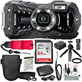 Ricoh WG-50 Waterproof/Shockproof Point and Shoot Digital Camera (Black) with 64GB, Floating Strap, Tripod, and Deluxe Accessory Bundle