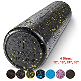 Day 1 Fitness High Density Muscle Foam Rollers Sports Massage Rollers for Stretching, Physical Therapy, Deep Tissue and Myofascial Release – for Exercise and Pain Relief – Speckled Yellow, 24″ For Sale