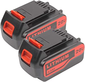 2 Pack 4.0Ah 20V Replacement Lithium Battery for Black and Decker 20Volt Max LBXR20 LB20 LBX20 LBXR2020 LBX4020 LB2X4020-OPE LBXR20-OPE Power Tools