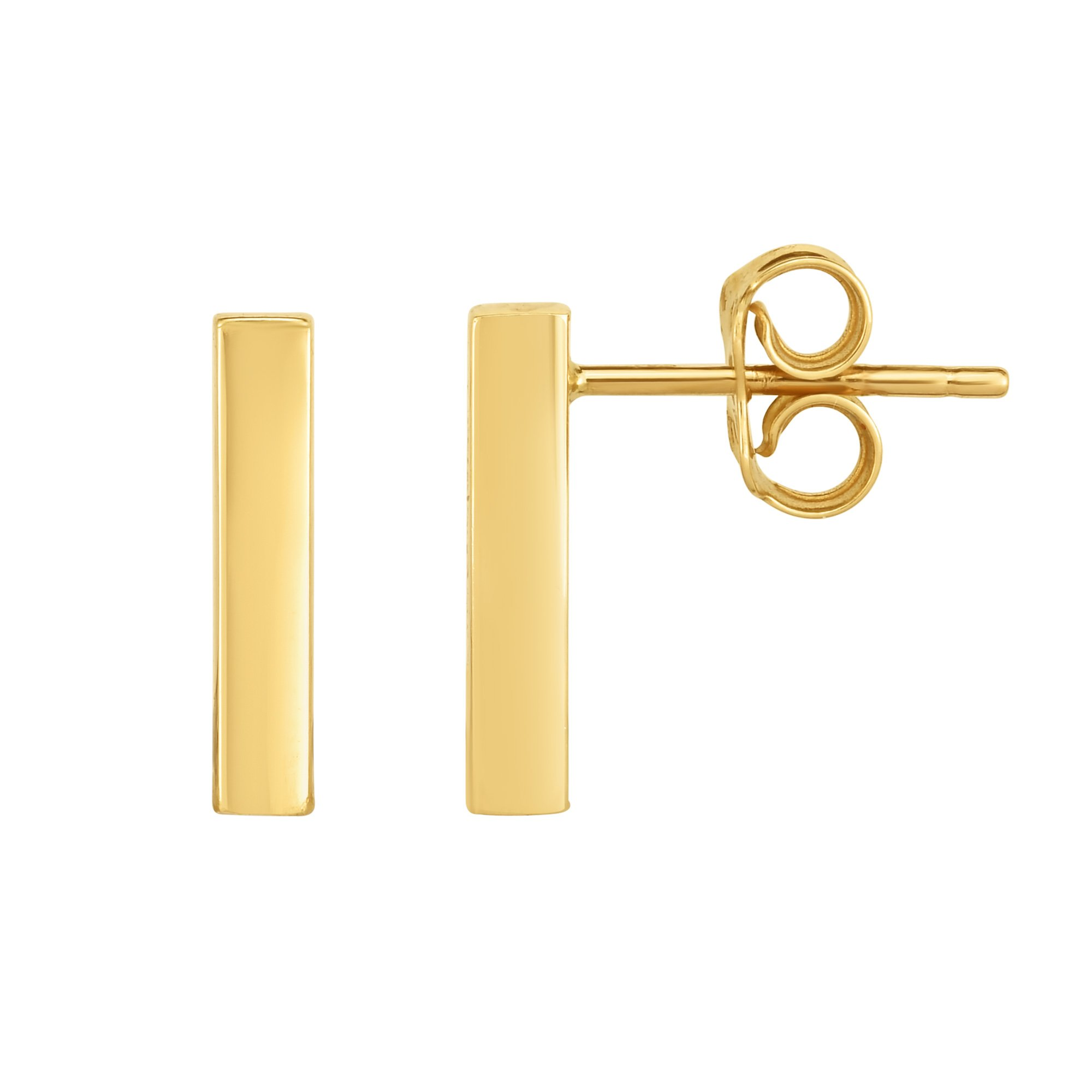 14K Gold Yellow Bar Square Tube Style Climber Stud Earrings by JewelryAffairs