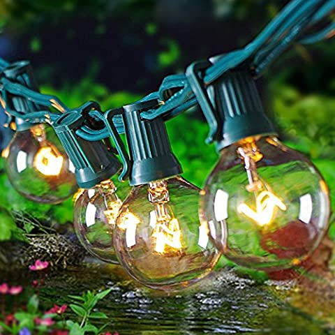 Globe String Light with G40 Clear Bulbs UL Listed Outdoor Indoor 25 foot Green Wire - Party Tent Replacement