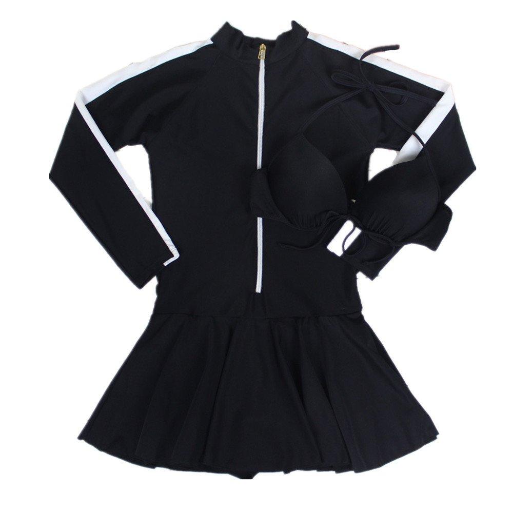 女性の 水着 ロングスリーブ スカート シャム 水着 エクササイズ 日焼け止め 保守的な ビーチ スパ 水着 に適して カジュアル 観光 (Color : Black, Size : L) B07F3QBT5W Large|Black