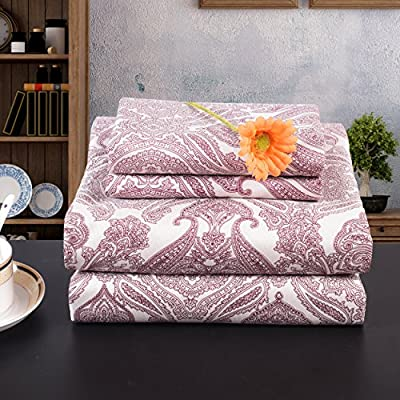 """Lullabi Premium Collection, Double-Side Brushed Finish, Microfiber Bed Sheets Set - Fitted, Flat Sheet, Pillowcases, Wrinkle, Fade, Stain Resistant (Paisley, Queen) - ULTRA SOFT - 100% microfiber, luxury, breathable, durable and stylish. Doubles-sided brushed finish makes them one of the softest fabric on the market. DEEP POCKETS - securely fit for mattress depths up to 17 inches. QUEEN SIZE SET - 4-piece set includes one flat sheet (102""""x90""""), one fitted sheet (80""""x60""""), and two standard size pillowcases (30""""x20""""). - sheet-sets, bedroom-sheets-comforters, bedroom - 61aJOlY %2BNL. SS400  -"""