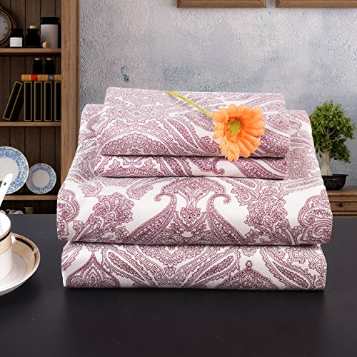 61aJOlY %2BNL - Lullabi Premium Collection 100% Ultra Soft, Double-side Brushed Finish, Microfiber Bed Sheets Set - Fitted, Flat sheet, Pillowcases, Wrinkle, Fade, Stain Resistant (PAISLEY, QUEEN)