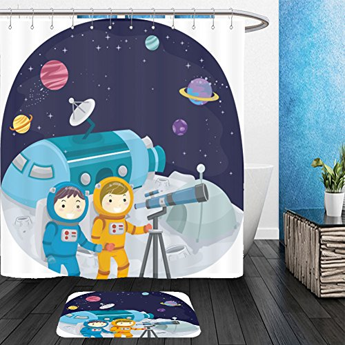 Baby Stickman Costume (Vanfan Bathroom 2 Suits 1 Shower Curtains &  1 Floor Mats stickman illustration of kids using a telescope to observe planets 413898673 From Bath room)