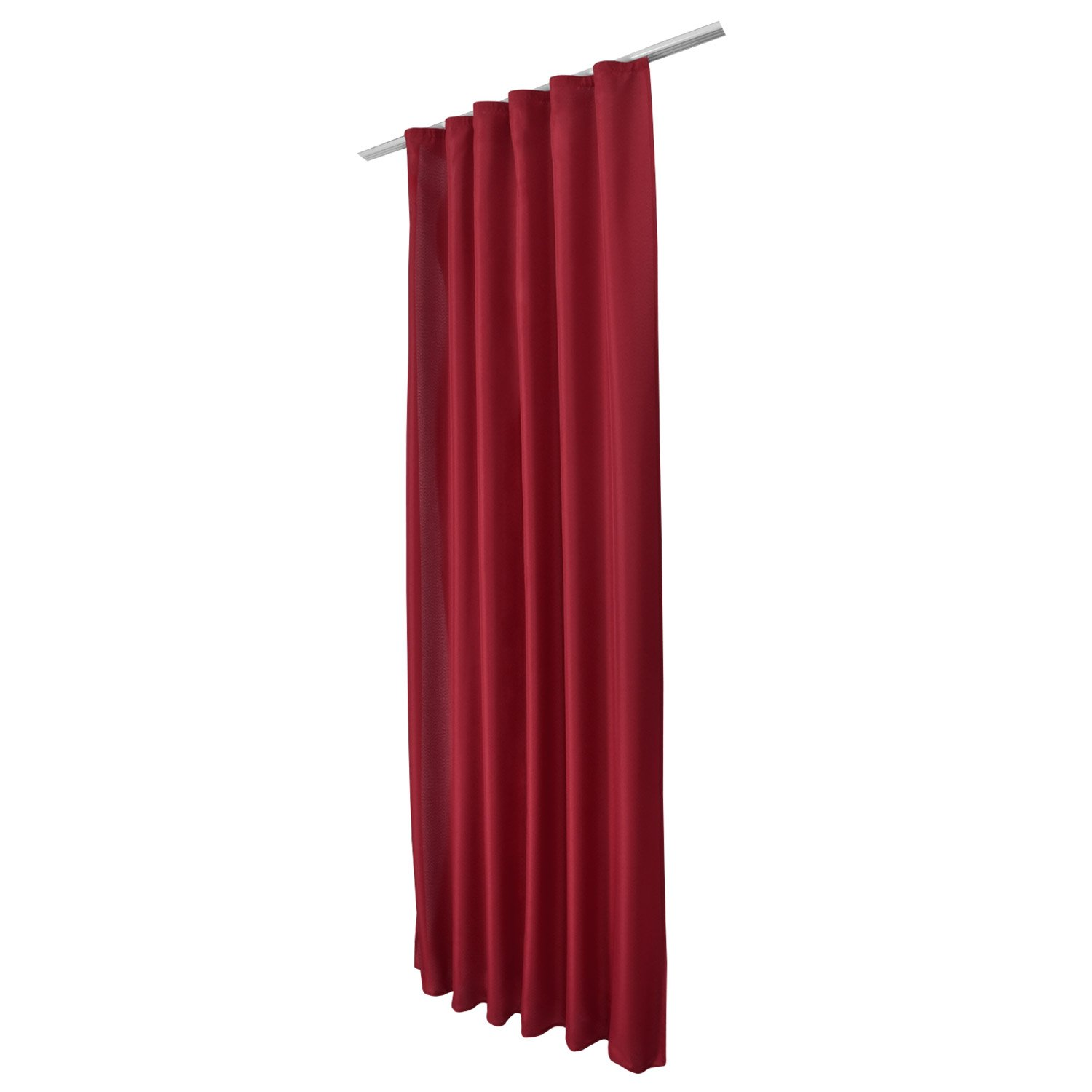 Beautissu Opaque Ribbon-Curtain Amelie 140 cm 175 cm Drop Bordeaux (Red) Decorative Drape with Ribbon