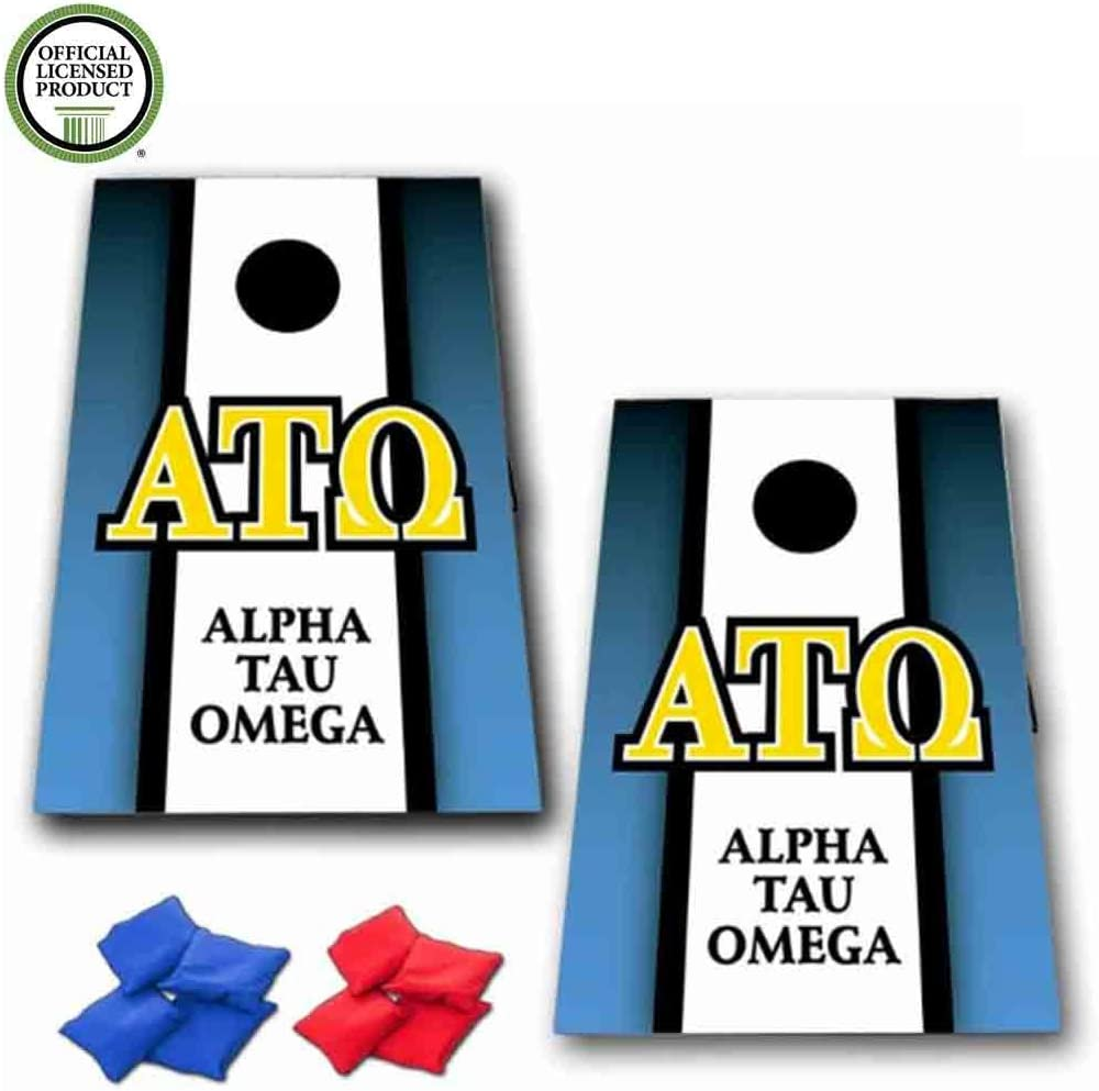 アルファTauオメガCornhole Bag Toss Game – 垂直ストライプ – 8バッグ含ま
