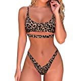 Byoauo Womens Sexy Bikini Scoop Neck Straps Cutout Crop Top with Cheeky Bottom Two Piece Swimsuits
