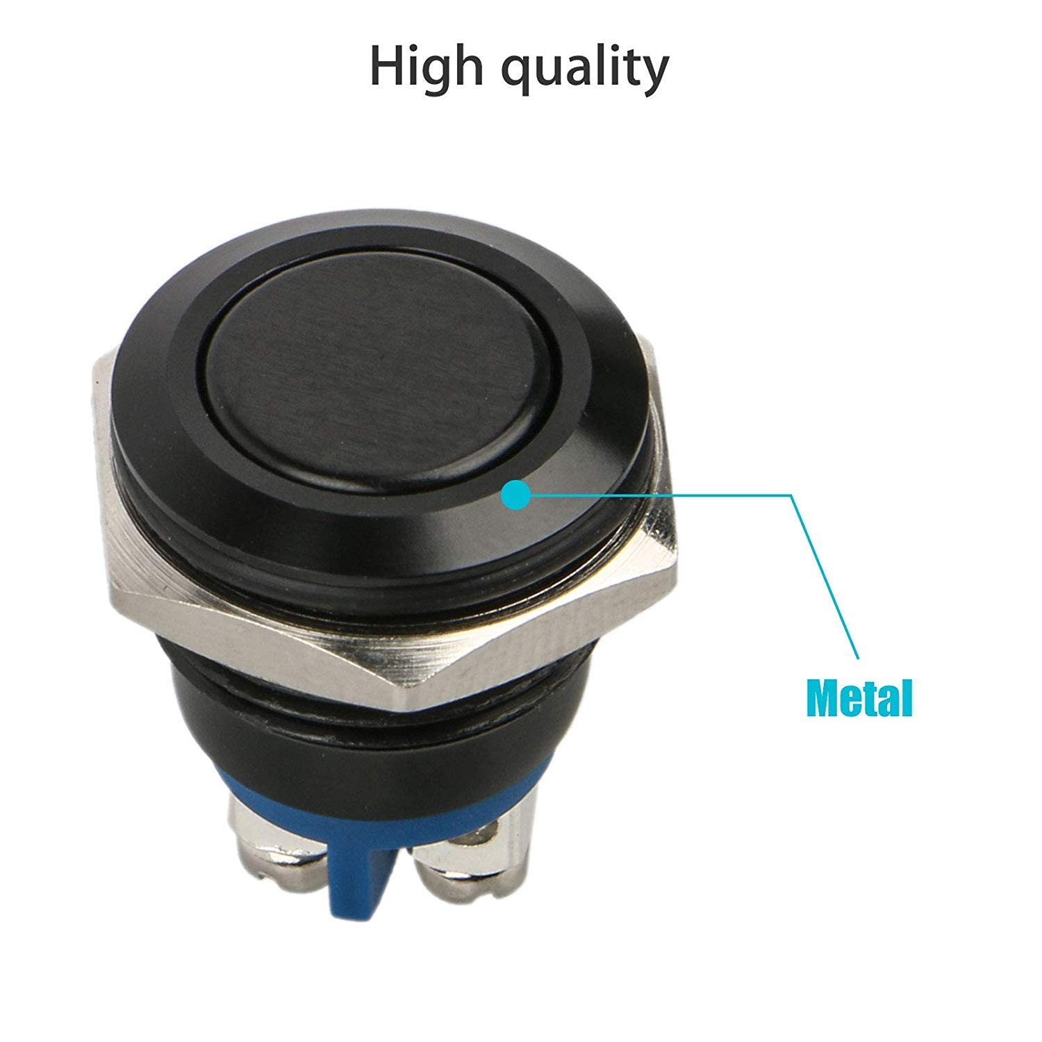 4 Pin Car RV Truck Boat SPDT ON//OFF Switch EEEKit 5Pcs DC 12V//24V Metal Latching Push Button Switch Waterproof Self-Locking Round Marine Switch with Blue LED Light for 12mm 1//2 Mounting Hole