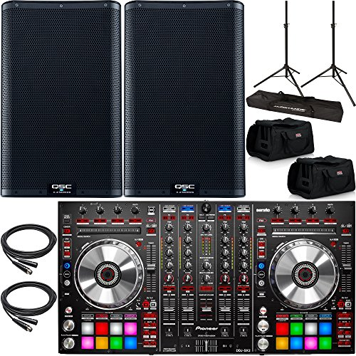 2x QSC K12.2 Powered Speakers with a Pioneer DDJ-SX2 Serato DJ Controller & Accessories