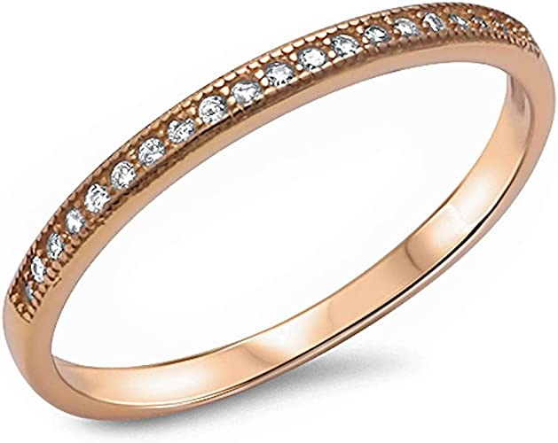 Yellow Gold Plated Eternity Band .925 Sterling silver Rings Sizes 4-10