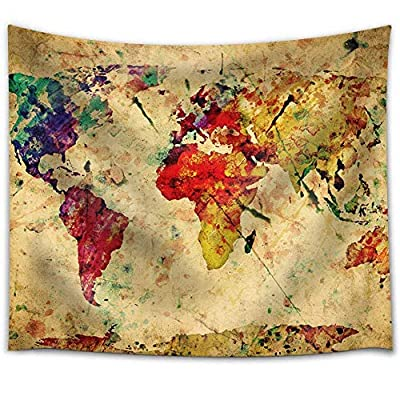 A Map of The World in Water Colors on a Vintage Background - Fabric Tapestry, Home Decor - 68x80 inches