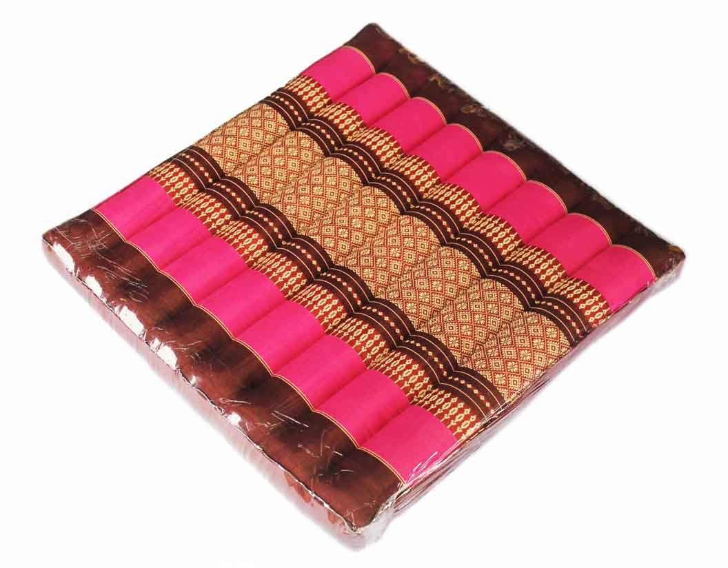 Floor Cushions Thai Cushion Meditation Zabuton Thai Style Soft Stuffed Filled Kapok Size 20''x20''x3'' (Pink)
