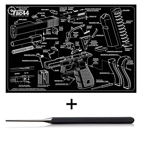 UPC 750408200204, Gun Cleaning and Assembly Mat with Glock Diagram & Glock Compatible Disassembly Punch Tool Bundle Pack