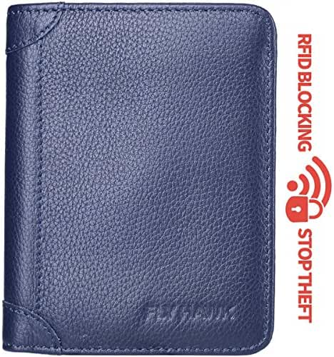 FlyHawk.Inc Genuine Leather RFID Blocking Wallets Mens thin Wallet