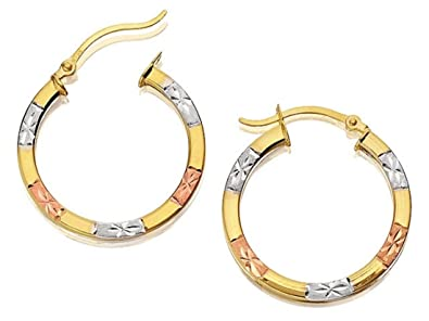 e4fbcc5e9ac05 F.Hinds 9ct Three Colour Gold Square Edge Hoop Earrings 20mm Jewelry ...